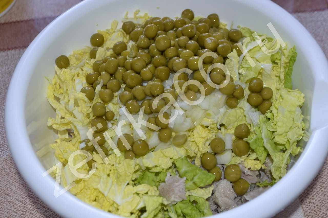 Салат с горошком консервированным рецепт пошагово в