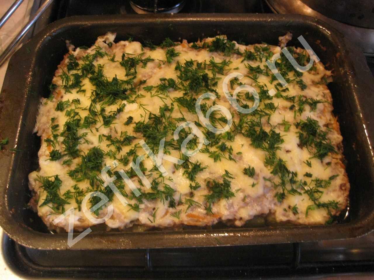 Кабачок в духовке с сыром и фаршем рецепт