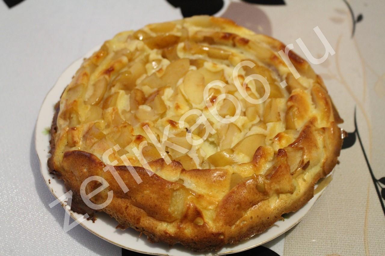 Шарлотка с яблоками в со сметаной в духовке рецепт с пошагово в