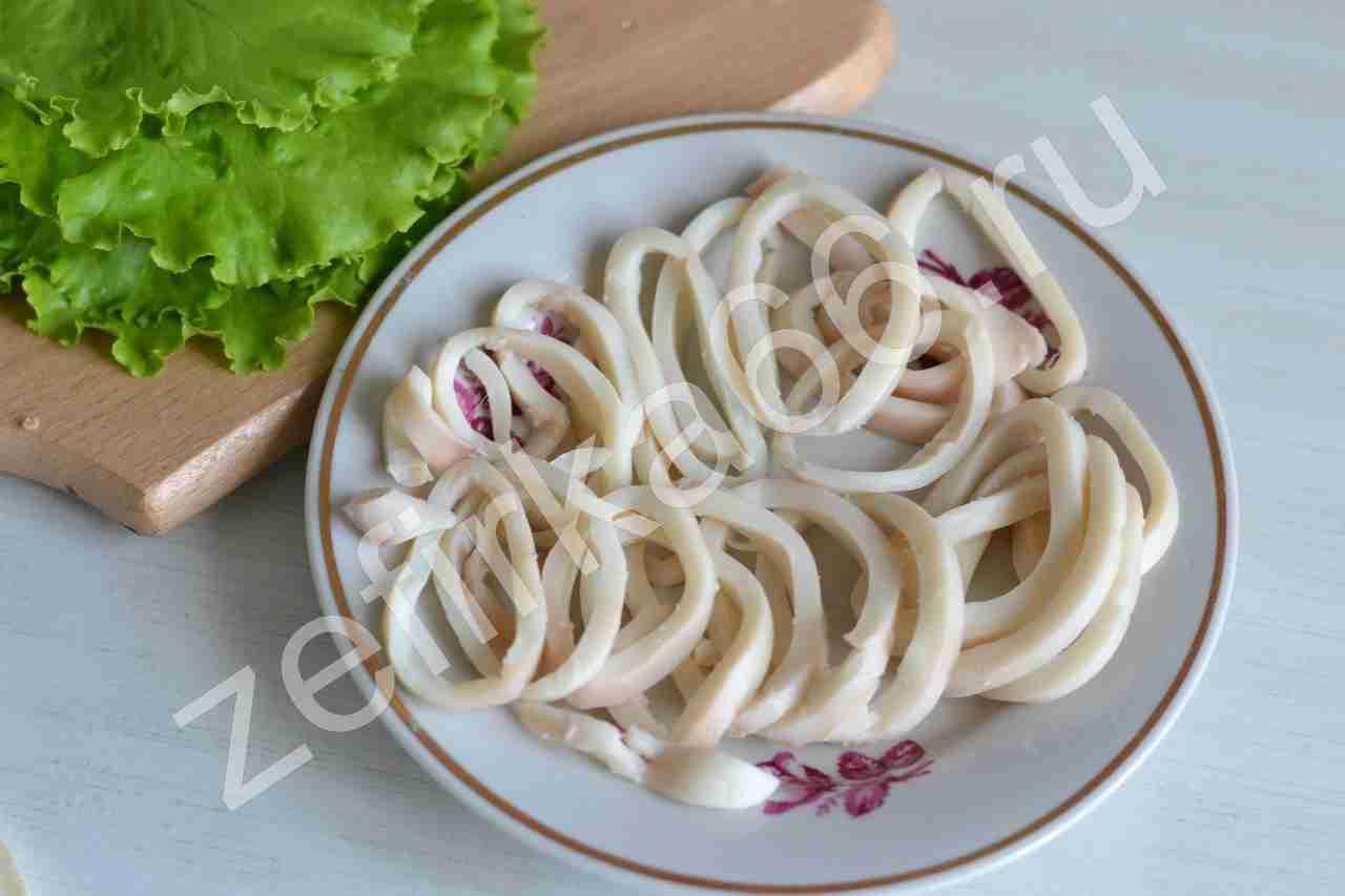 Кальмар тушка салат